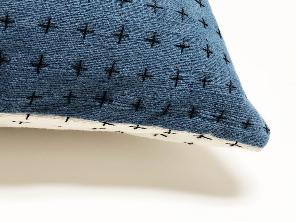 Happy French Gang- Indigo and White Pillow