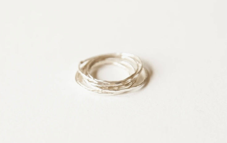 Earthen- Hammered Stacking Ring, Sterling Silver
