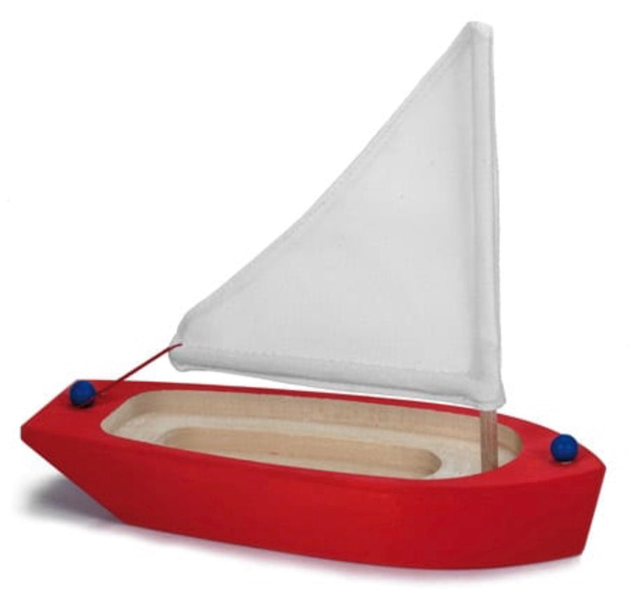 Gluckskafer- Wooden Sailing Boat Toy, Red