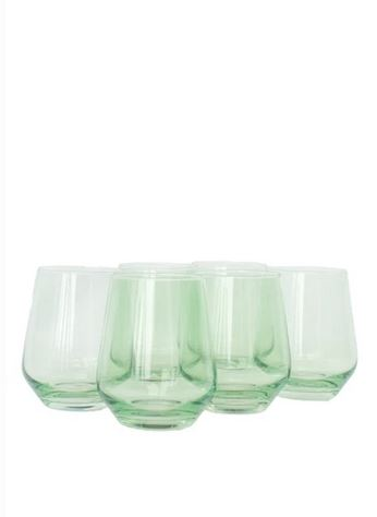 Estelle Colored Glass - Stemless Wine Glass, Mint Green