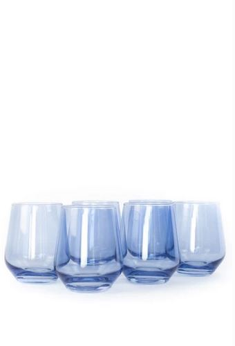 Estelle Colored Glass - Stemless Wine Glass, Cobalt Blue