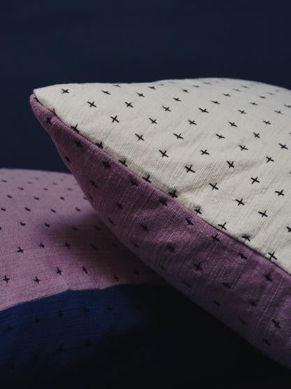 Happy French Gang- Lavender and White Pillow