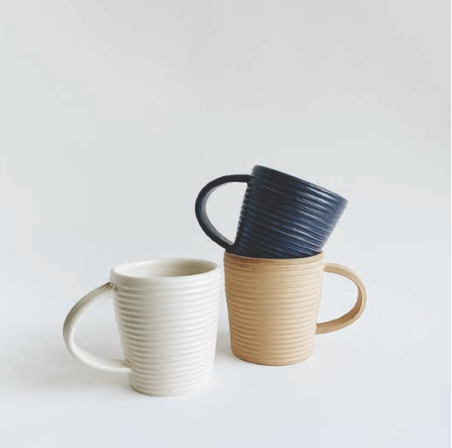 Tellefsen Atelier- Tapered Ribbed Mug, White