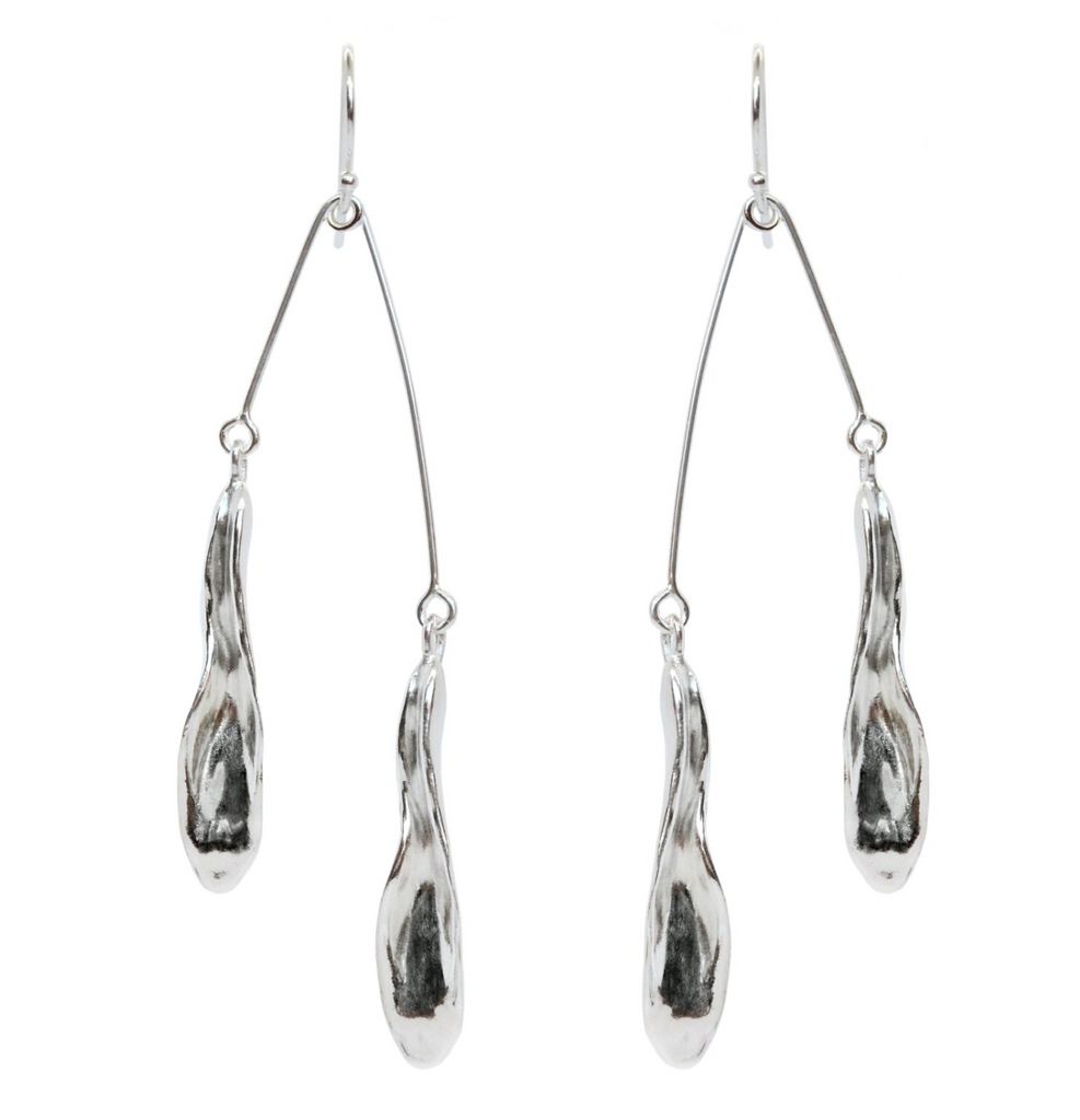 Amanda Hunt- Flora Hook Mobile Earrings, Silver