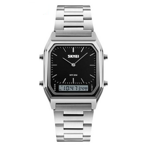 Retro Digital Analog Dual Time Stainless Steel Watch