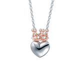 Crown Heart Cubic Zirconia Pendant Sterling Silver Necklace