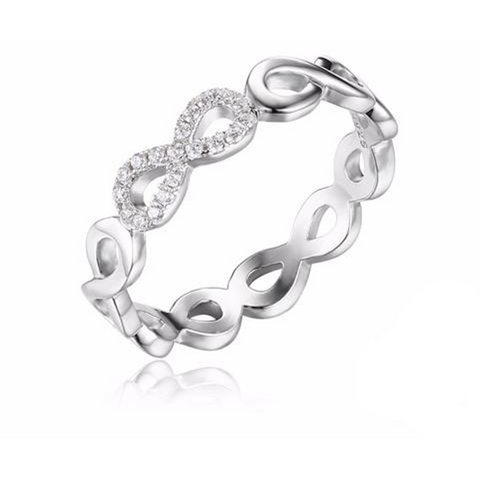 Sterling Silver Infinity Love Forever Zircon Stone Ring