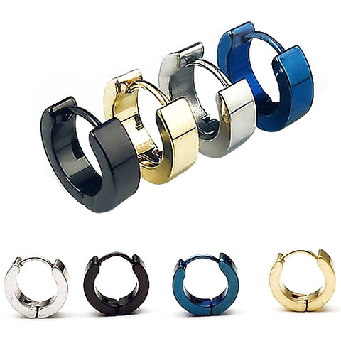 Stainless Steel Wide Male Hoop Earrings