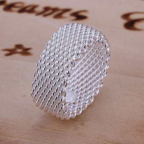 Silver Plated Fish Net Ring