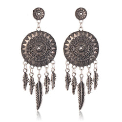 Bohemian Dreamcatcher Metal Feather Earrings