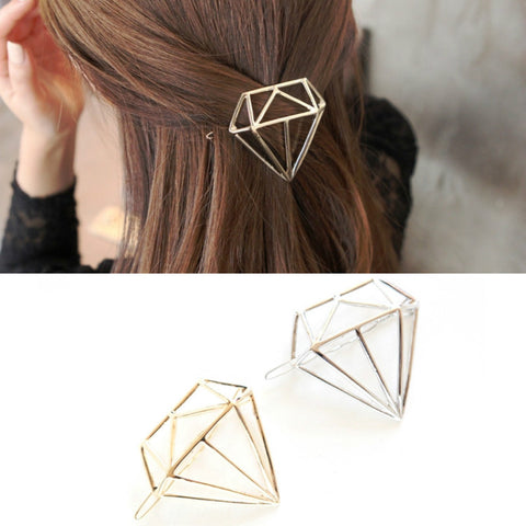 Hollow Metal Diamond Shape Hair Pin