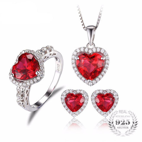 Love Red Ruby Heart Ring, Earrings, and Necklace