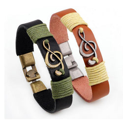 Treble Clef Music Note Tied Rope Leather Bracelet