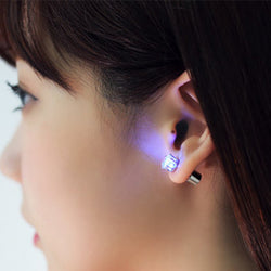 Luminous LED Flashlight Stone Earrings