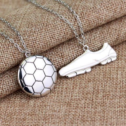 Football Boots Shoe and Soccer Ball Chain Necklace