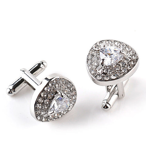 High Grade Silver Plated Purple Crystal Rhinestone Cufflinks