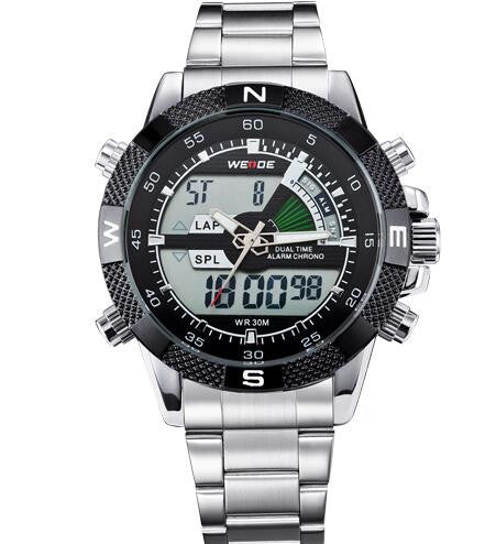 Metal Dual Sport Watch with Stainless Steel Band
