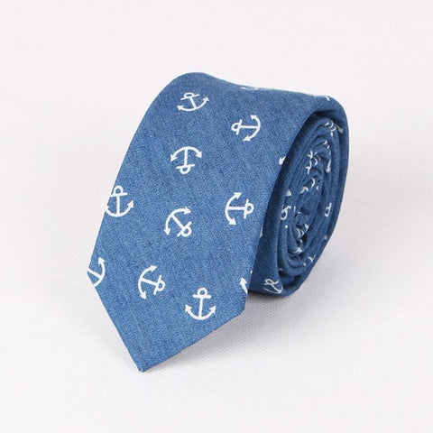 Hawaiian Paisley Anchor Fish Skeleton Ocean Blue Tie