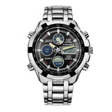 Men's Round Metal Quartz & Digital Watch