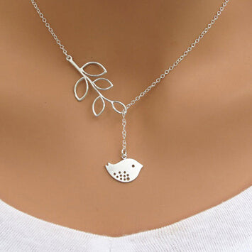 Tree Leaves Clavicle Chain Bird Pendant Necklace