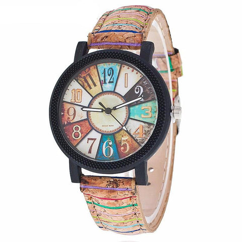 Vintage Numbers Colorful Leather Watch