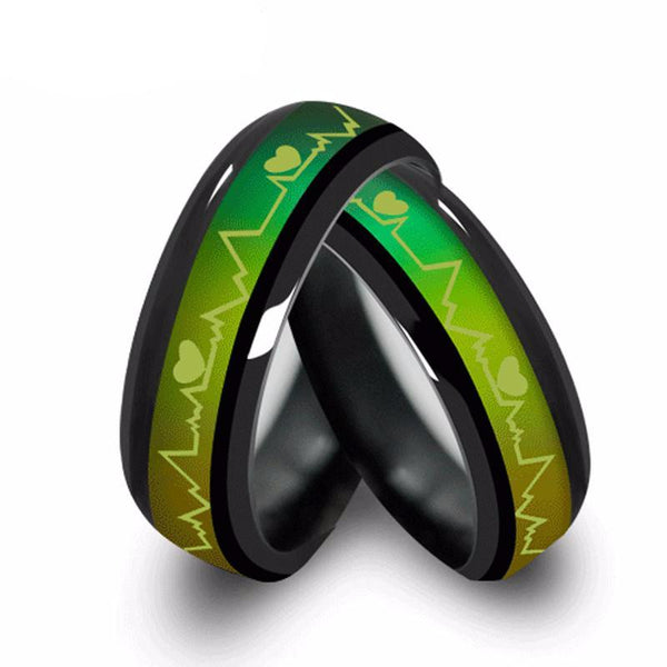 Couples Titanium Heart Beat Pulse Mood Rings