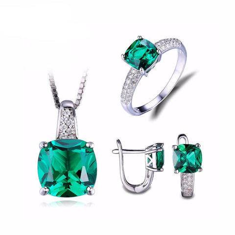 8.7 Carat Green Emerald Ring Earrings and Necklace Set