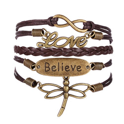 Dragonfly Infinity Love Multilayer Rope Believe Bracelet