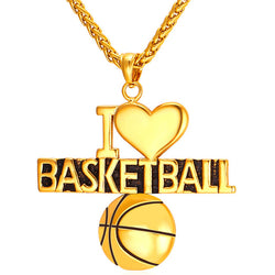 I Love Basketball Pendant Steel Necklace