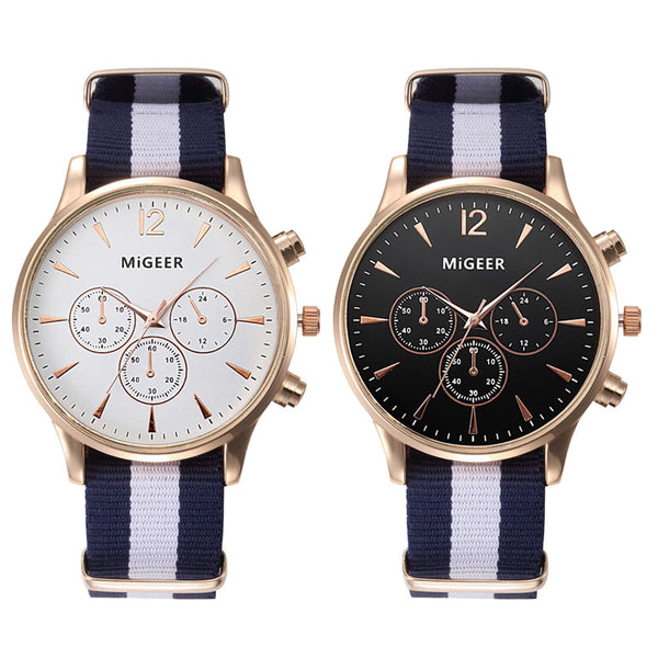 Men's Sporty Canvas Striped Strap Analog Watch