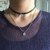 Layered Leather Choker and Necklace with Crystal Pendant