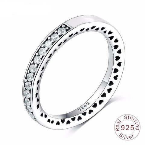Thin Radiant Hearts Crystal Bezel Ring