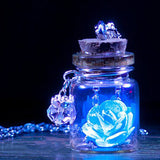 Glow In The Dark Flower Glass Wish Bottle Necklace