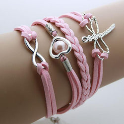 Dragon Fly Heart Infinity Charm Leather Bracelet