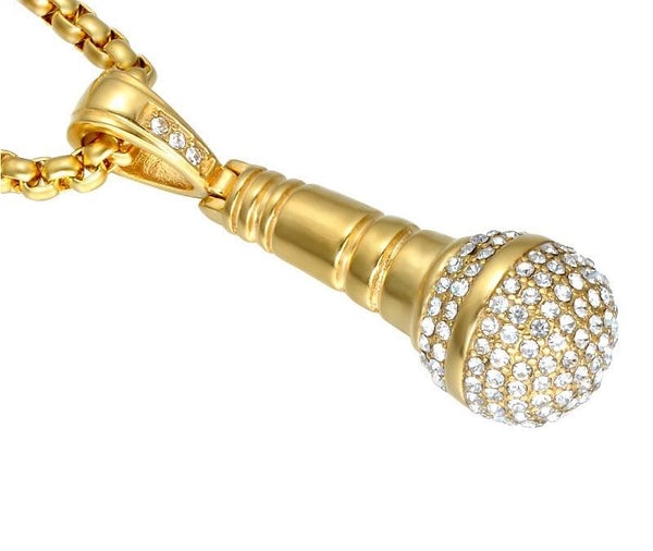 Steel Rhinestone Bling Microphone Necklace