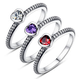Lover Heart Crystal Silver Ring