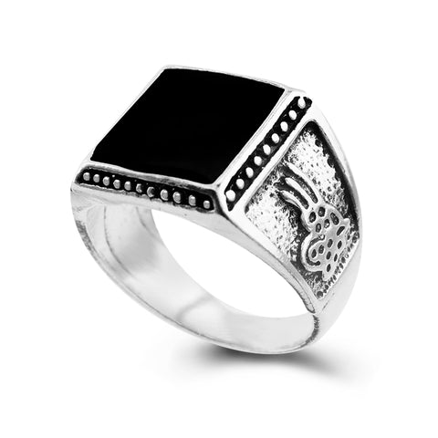 Antique Square Black Stone Ring