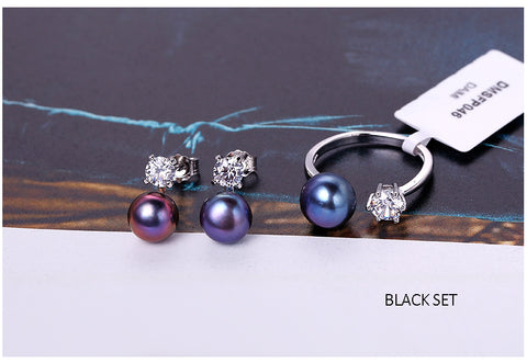 Elegant Pearl Earrings and Ring Matching Sets