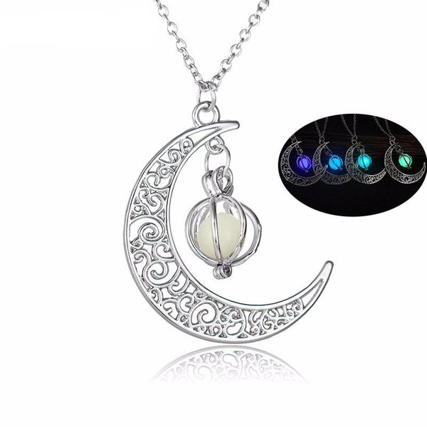 Crescent Moon Luminous Stone Necklace
