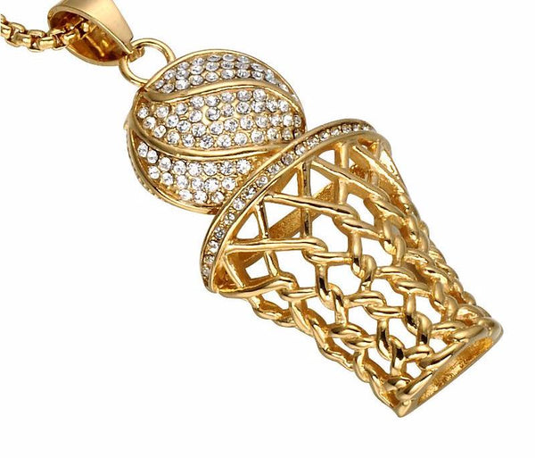 Rhinestone Bling Basketball Hoop Pendant Necklaces