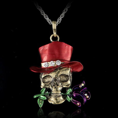Vintage New Orleans Skull with Rose in Mouth Necklace