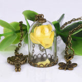 Rose in Terrarium Necklace with Key and Butterfly Pendants
