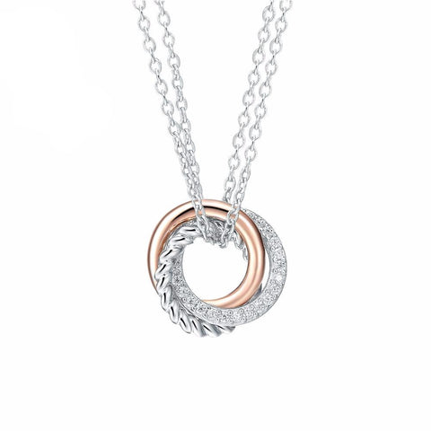 Sterling Silver Rose Gold Zircon Ring Pendant Necklace