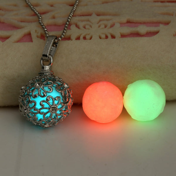 Glow in the Dark Metal Round Ball Necklace