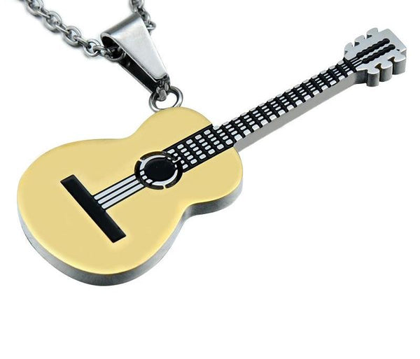 Rock n Roll Acoustic Guitar Pendant Necklace
