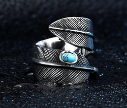Silver Steel Feather Turquoise Stone Ring