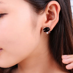 Smiling Black Cat Fine Stud Earrings