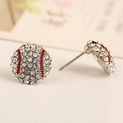 Rhinestone Bling Baseball Earrings