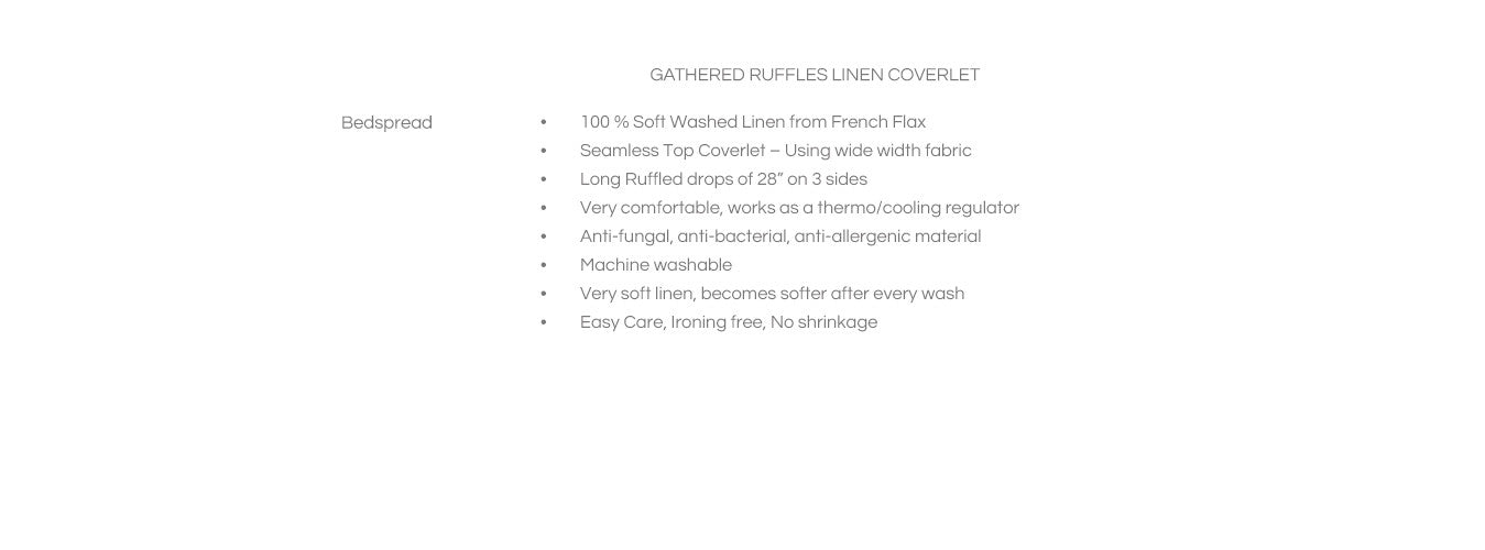 Features For Gathered Ruffles Linen Coverlet