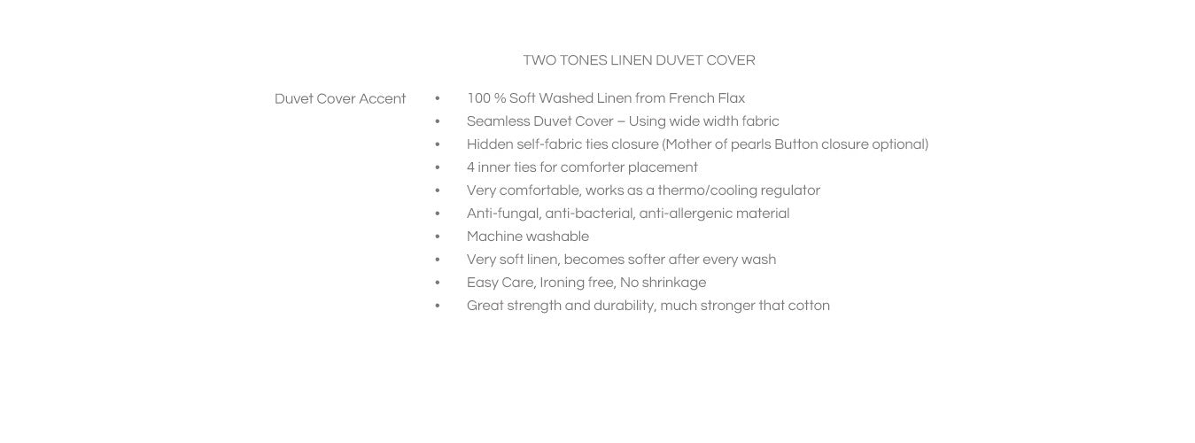 Features for Two Toned Duvet Cover